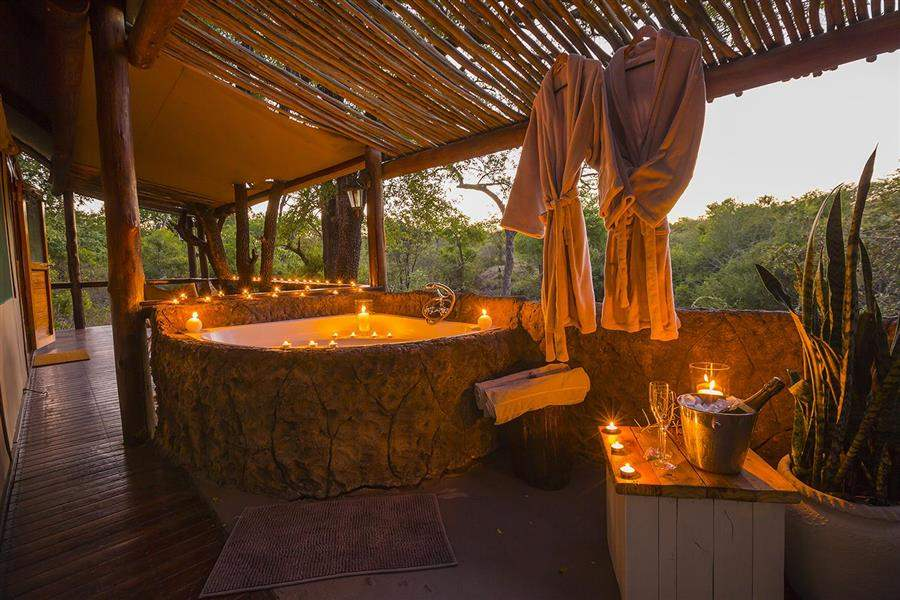 Thornybush Chapungu Luxury Tented Camp Outdoors Bath Evening