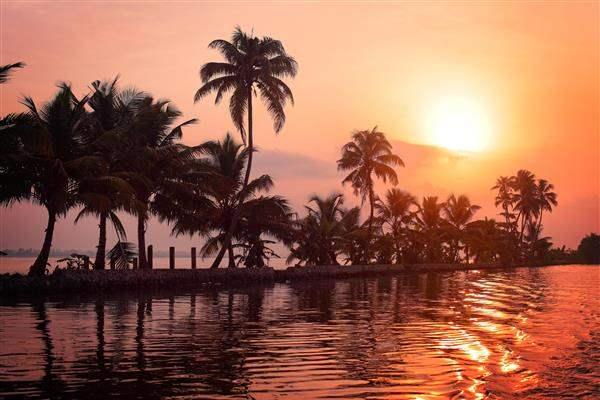 sunset over kerala india waterways