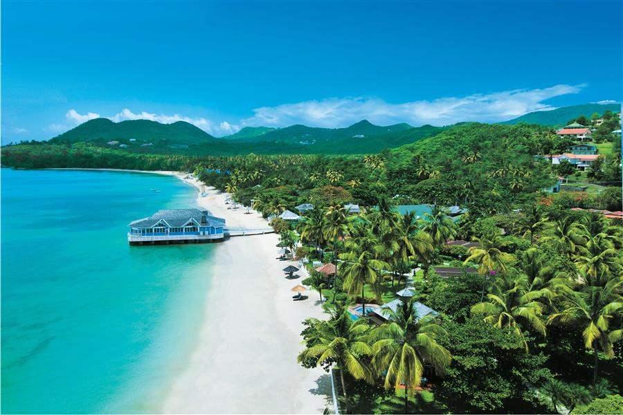 Sandals Halcyon Beach St Lucia Aerial View