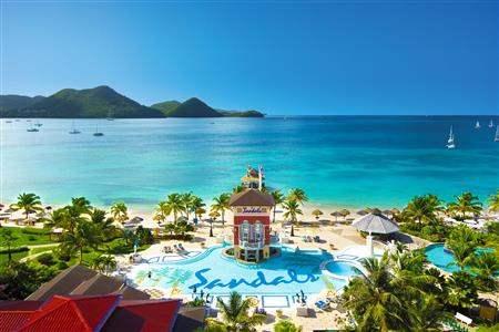Sandals Grande St Lucian Spaand Beach Resort Main Pool Aerial