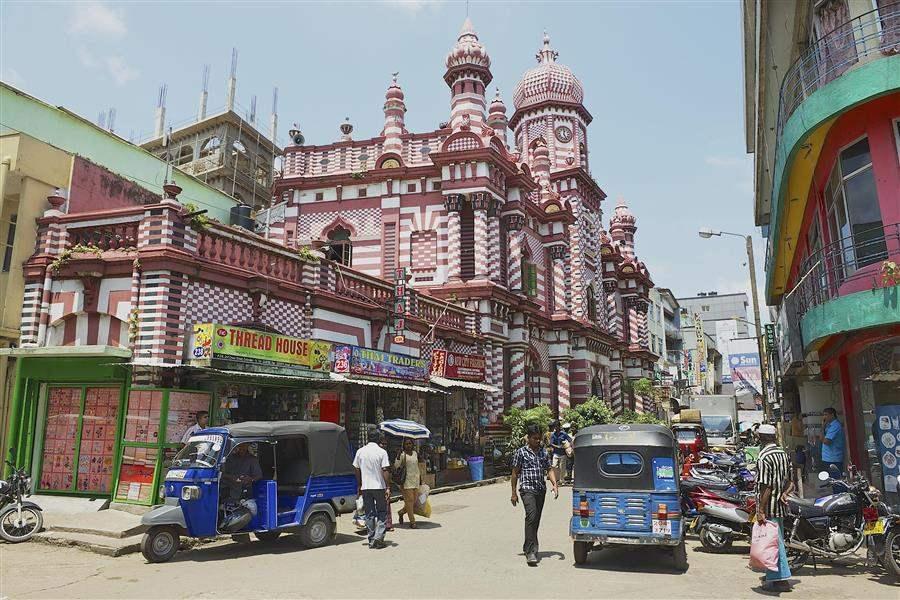 colourful street in colombo sri lanka