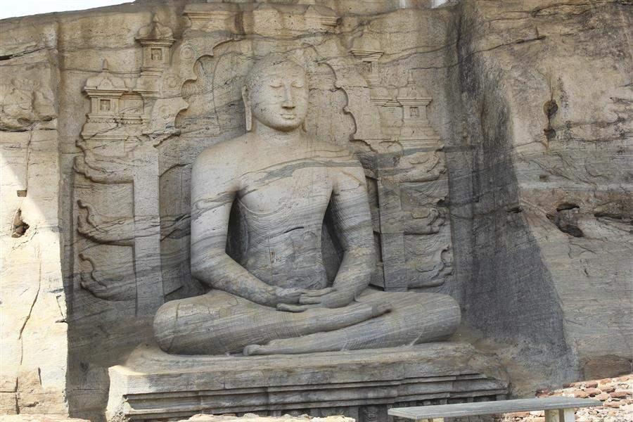 Carved rock face of buddah Polonnaruwa srilanka