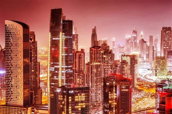 dubai city scape by night