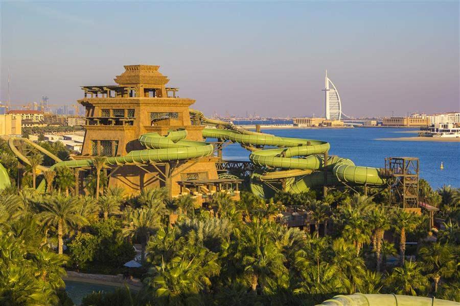 the palm waterpark to the burj view dubai