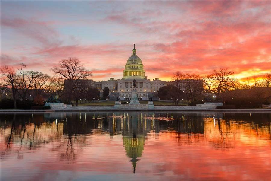 Washington DC capitol sunset