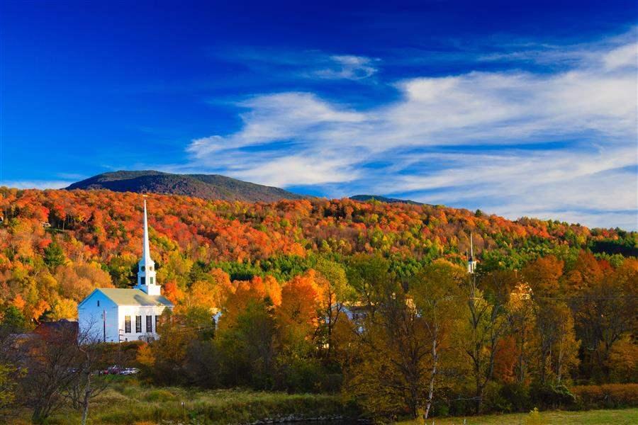 New England Fall Foliage Church