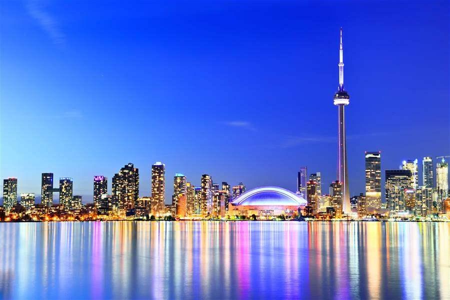 Toronto skyline night reflection