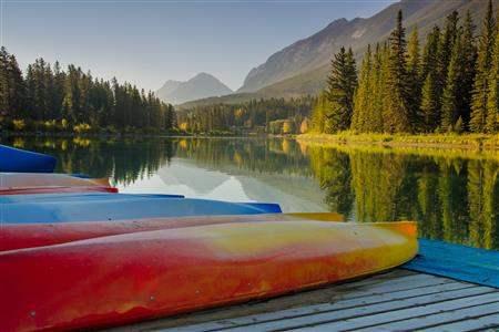 Bow lake banff Alberta canoe