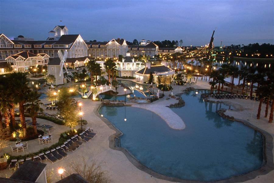 Disneys Beach Club Resort Aerial Night